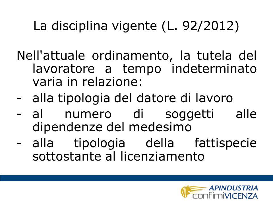 La disciplina vigente (L. 92/2012)