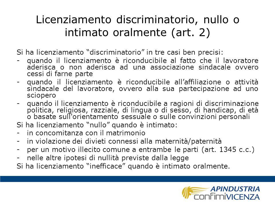 Licenziamento discriminatorio, nullo o intimato oralmente (art. 2)
