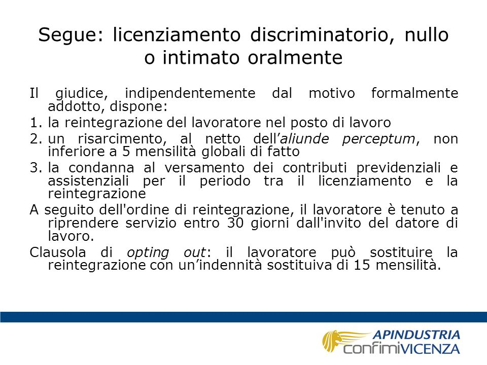Segue: licenziamento discriminatorio, nullo o intimato oralmente