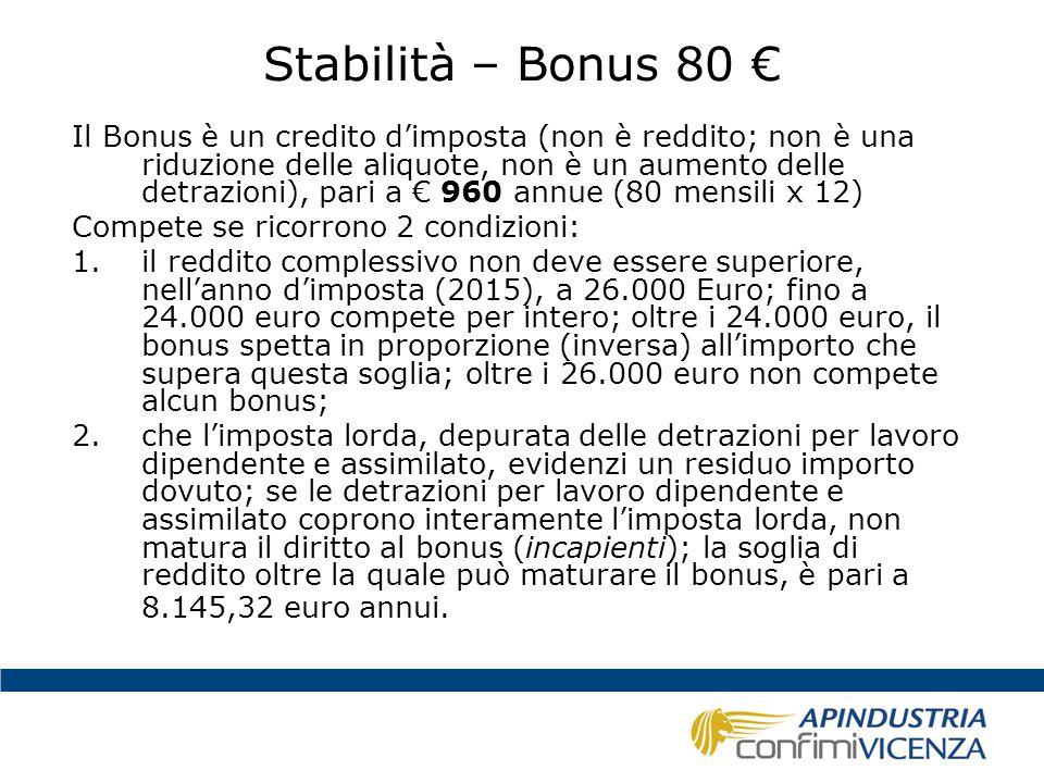 Stabilità – Bonus 80 €