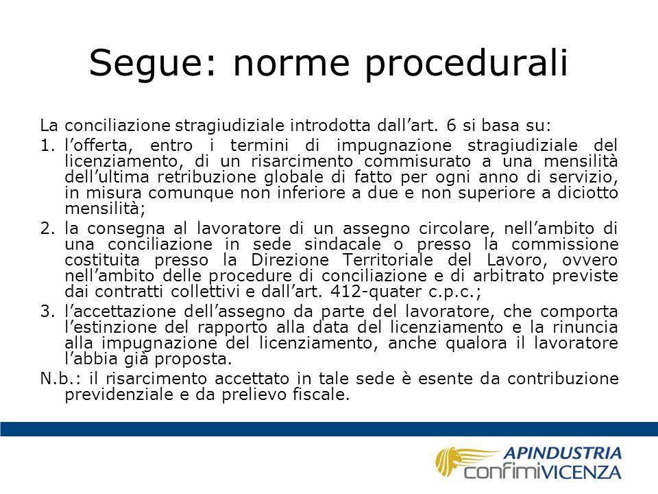 Segue: norme procedurali