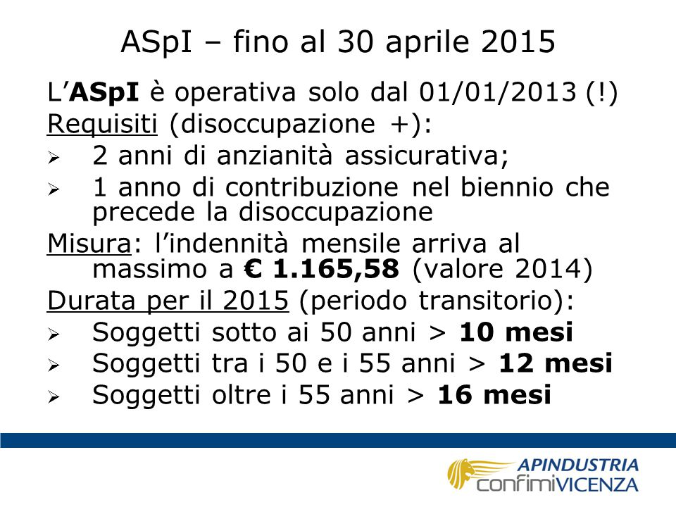 ASpI – fino al 30 aprile 2015 L'ASpI è operativa solo dal 01/01/2013 (!) Requisiti (disoccupazione +):