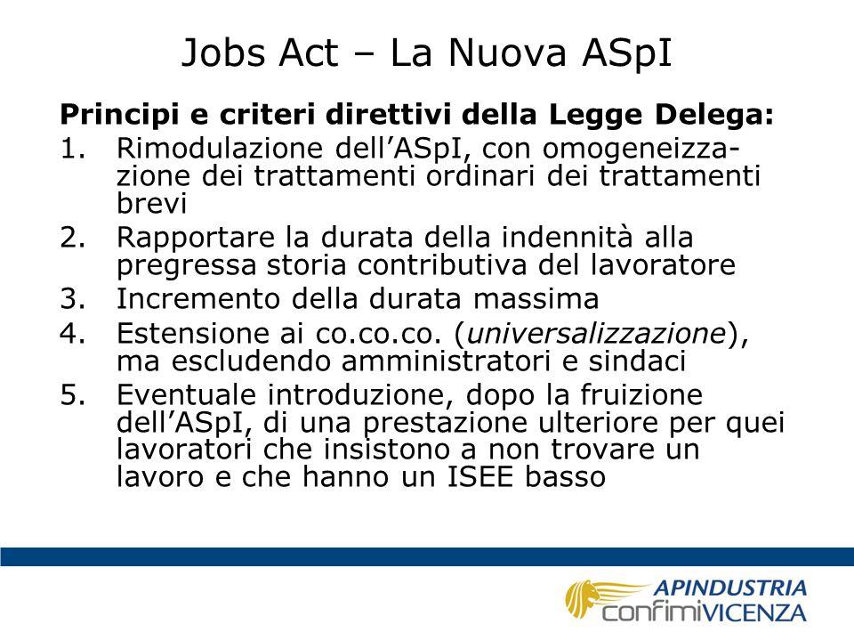 Jobs Act – La Nuova ASpI Principi e criteri direttivi della Legge Delega: