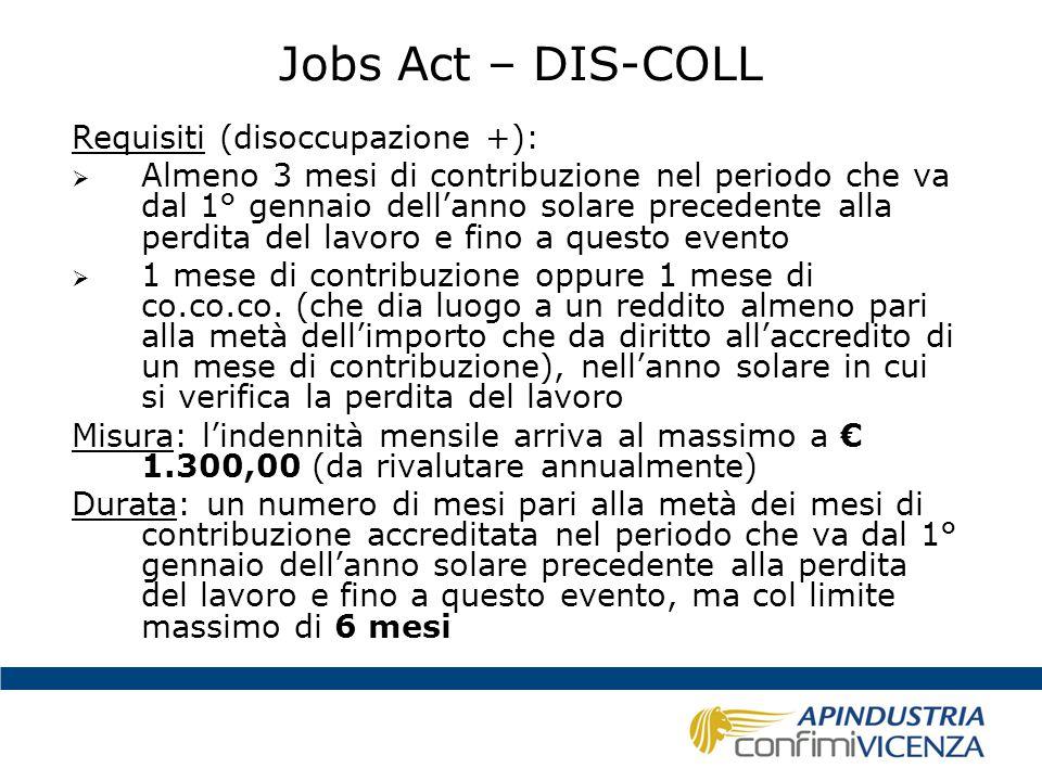 Jobs Act – DIS-COLL Requisiti (disoccupazione +):