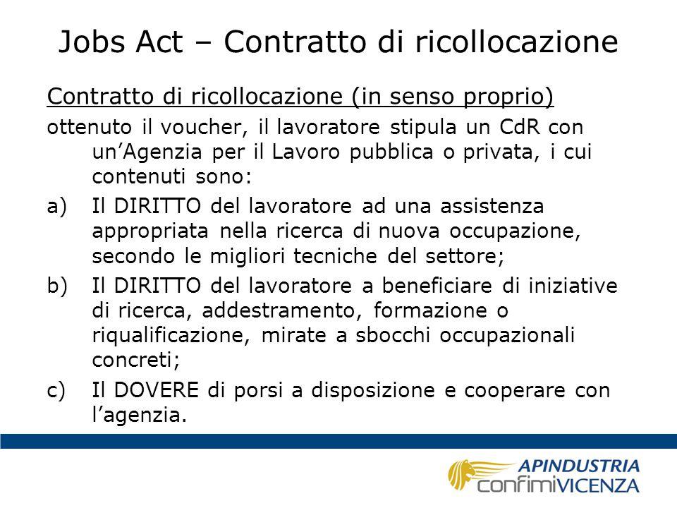 Jobs Act – Contratto di ricollocazione