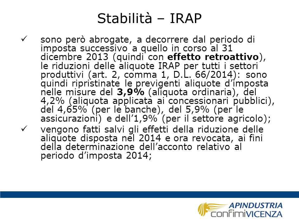 Stabilità – IRAP