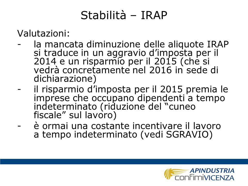Stabilità – IRAP Valutazioni: