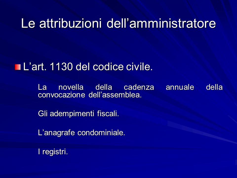 Le attribuzioni dell'amministratore
