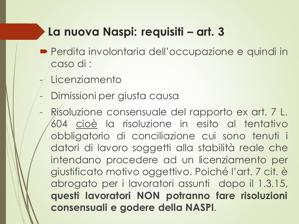 La nuova Naspi: requisiti – art. 3