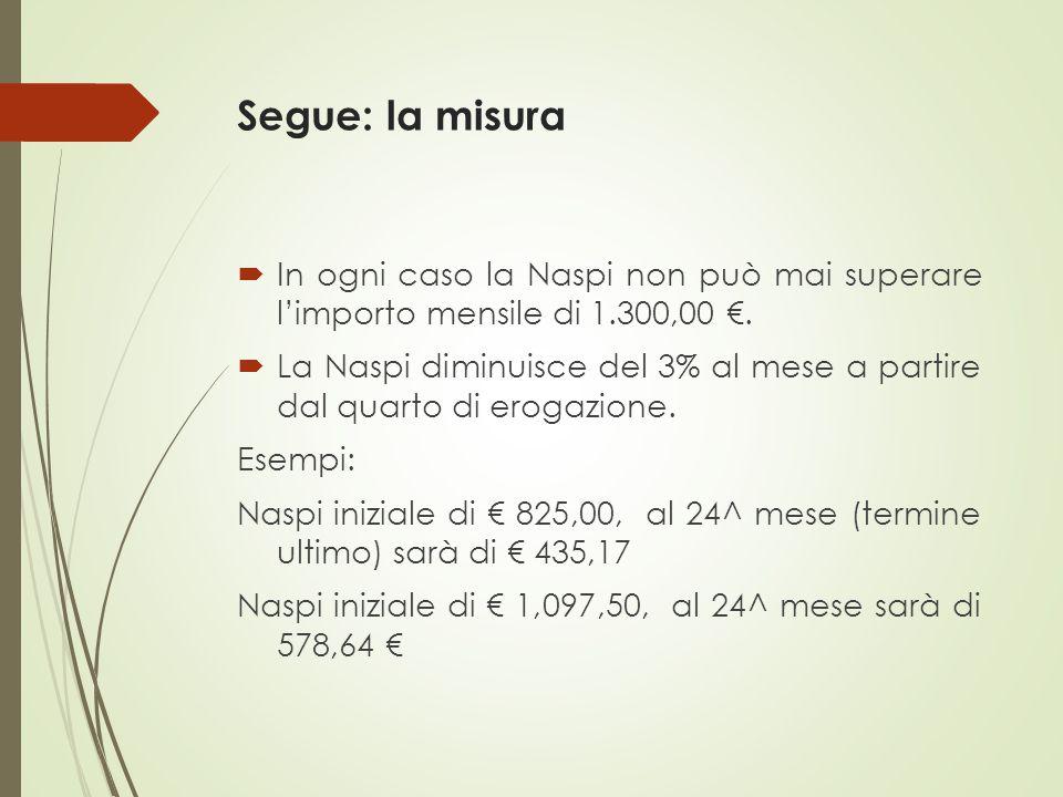 Segue: la misura In ogni caso la Naspi non può mai superare l'importo mensile di 1.300,00 €.