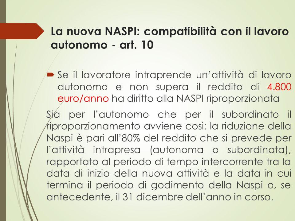 La nuova NASPI: compatibilità con il lavoro autonomo - art. 10