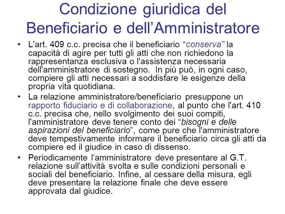 Condizione giuridica del Beneficiario e dell'Amministratore