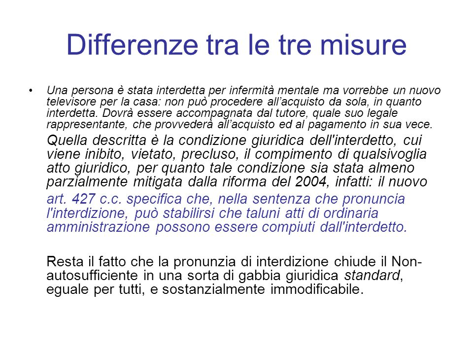 Differenze tra le tre misure