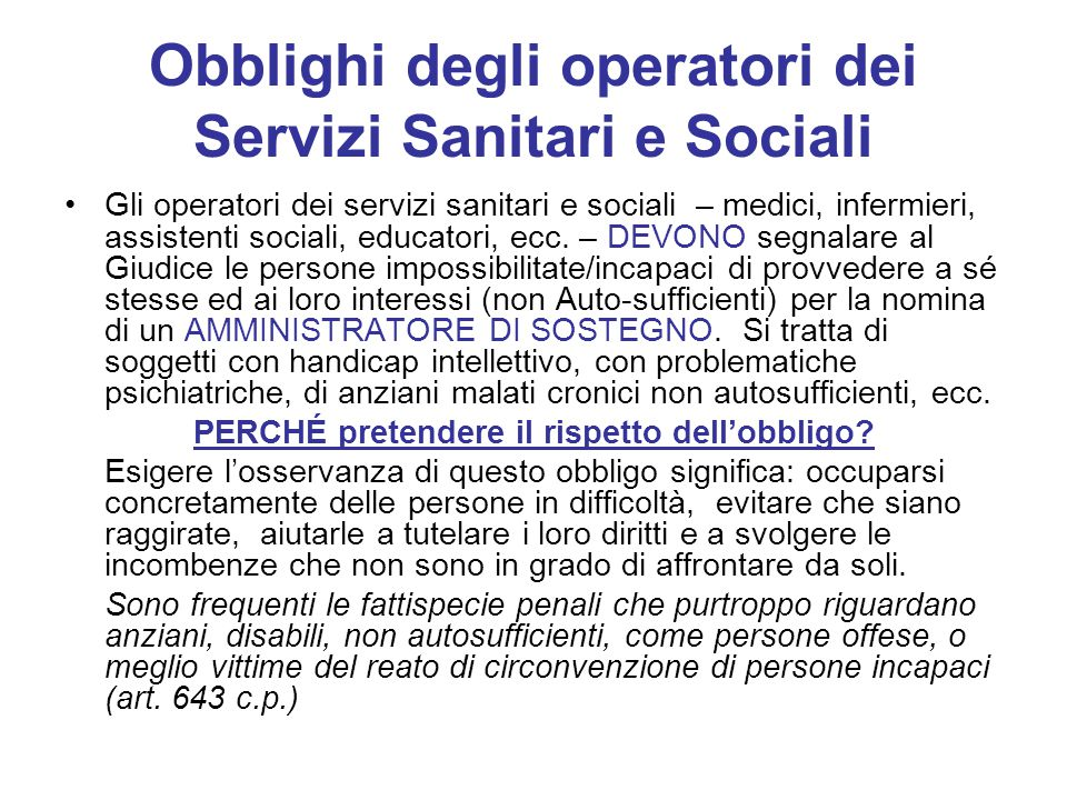 Obblighi degli operatori dei Servizi Sanitari e Sociali