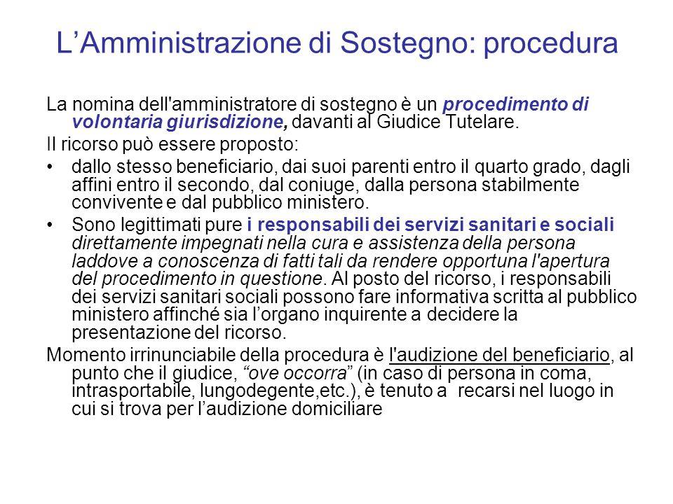 L'Amministrazione di Sostegno: procedura