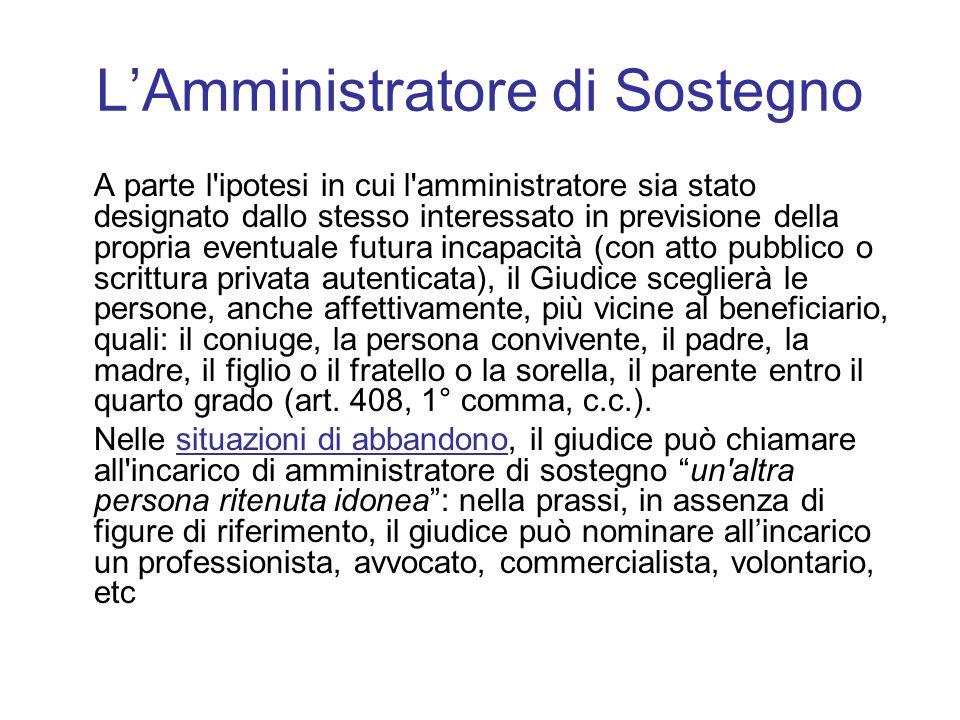 L'Amministratore di Sostegno