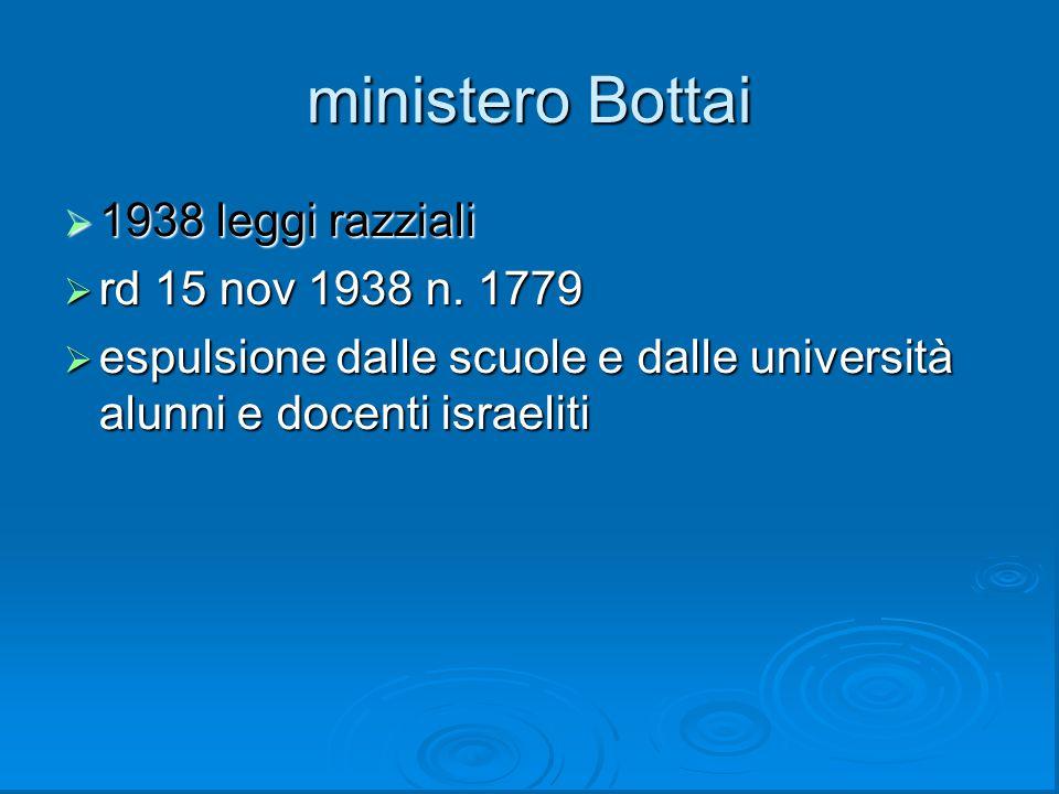 ministero Bottai 1938 leggi razziali rd 15 nov 1938 n. 1779
