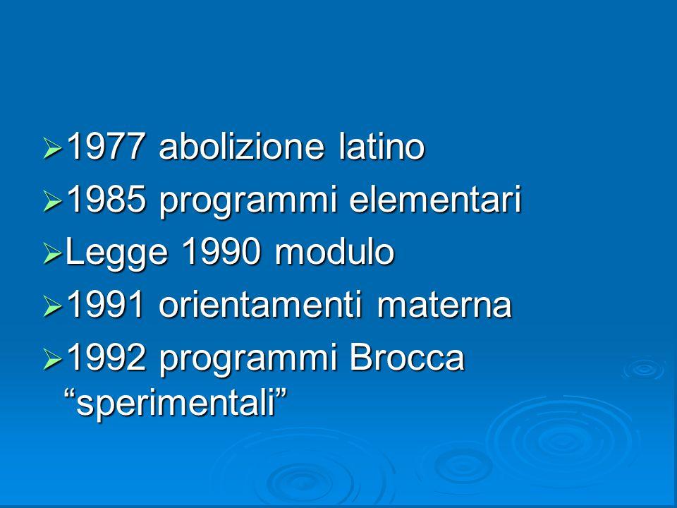 1977 abolizione latino 1985 programmi elementari. Legge 1990 modulo.