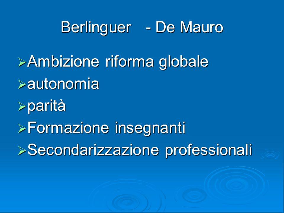 Berlinguer - De Mauro Ambizione riforma globale.