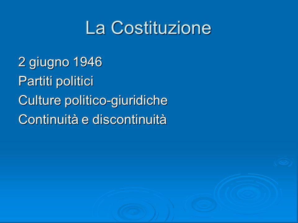 La Costituzione 2 giugno 1946 Partiti politici
