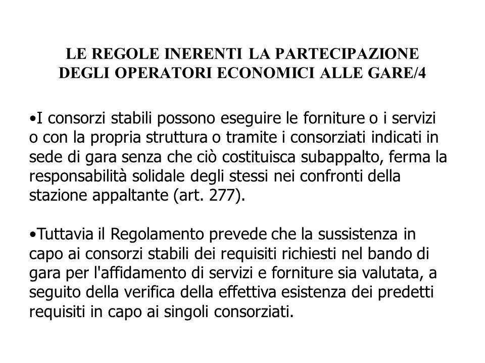 LE REGOLE INERENTI LA PARTECIPAZIONE DEGLI OPERATORI ECONOMICI ALLE GARE/4
