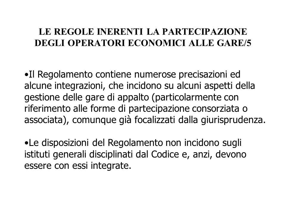 LE REGOLE INERENTI LA PARTECIPAZIONE DEGLI OPERATORI ECONOMICI ALLE GARE/5