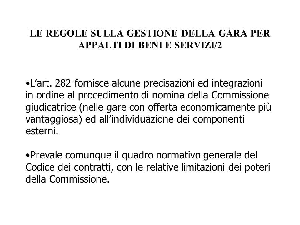 LE REGOLE SULLA GESTIONE DELLA GARA PER APPALTI DI BENI E SERVIZI/2
