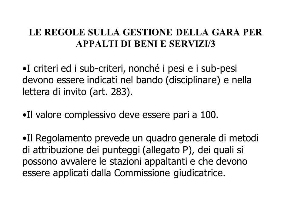 LE REGOLE SULLA GESTIONE DELLA GARA PER APPALTI DI BENI E SERVIZI/3