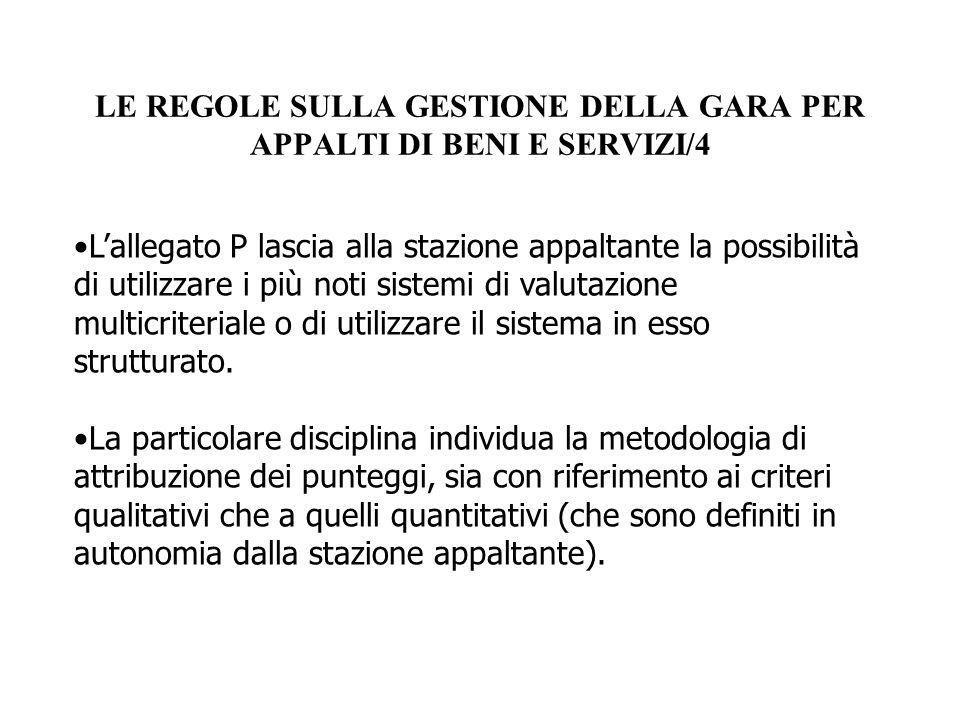 LE REGOLE SULLA GESTIONE DELLA GARA PER APPALTI DI BENI E SERVIZI/4