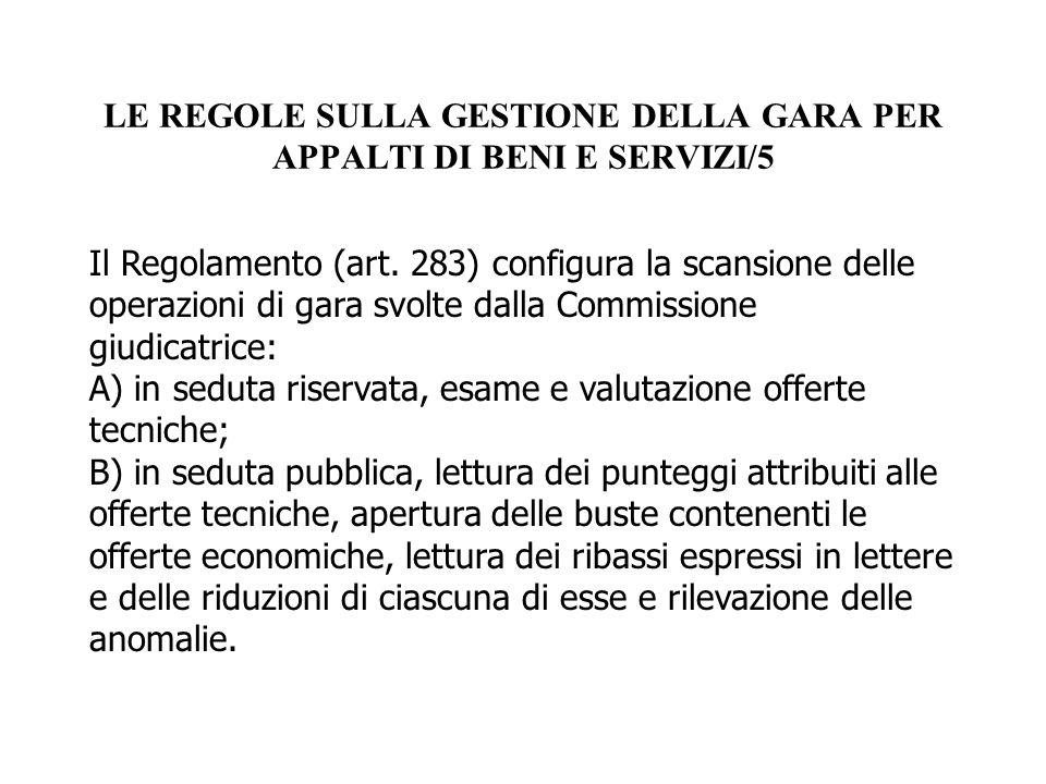 LE REGOLE SULLA GESTIONE DELLA GARA PER APPALTI DI BENI E SERVIZI/5