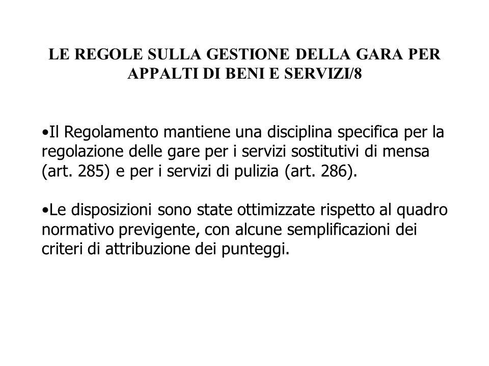 LE REGOLE SULLA GESTIONE DELLA GARA PER APPALTI DI BENI E SERVIZI/8
