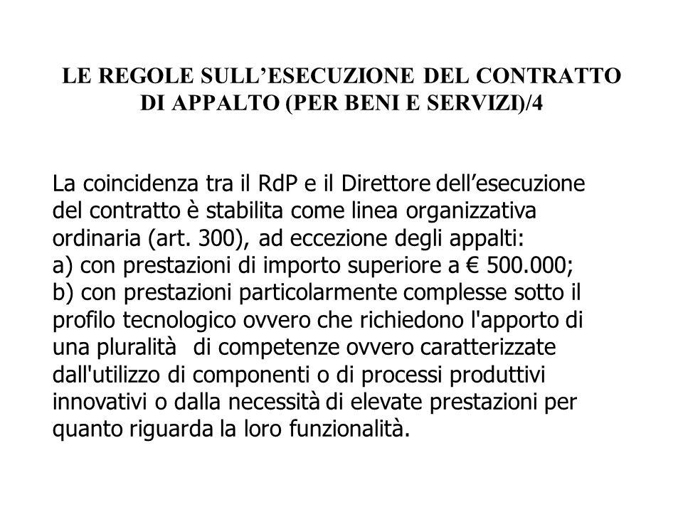LE REGOLE SULL'ESECUZIONE DEL CONTRATTO DI APPALTO (PER BENI E SERVIZI)/4