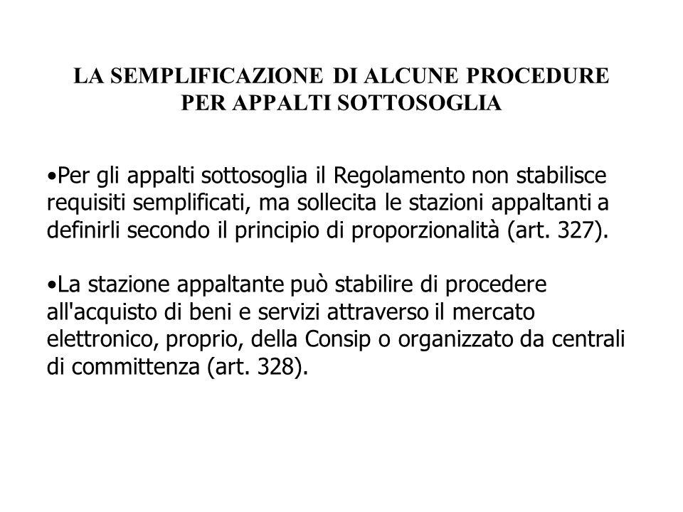 LA SEMPLIFICAZIONE DI ALCUNE PROCEDURE PER APPALTI SOTTOSOGLIA