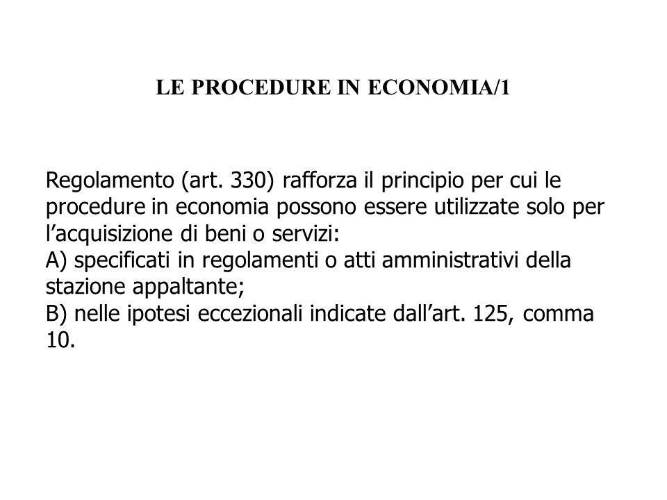 LE PROCEDURE IN ECONOMIA/1