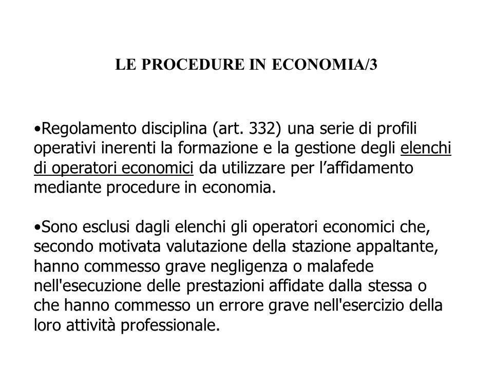 LE PROCEDURE IN ECONOMIA/3