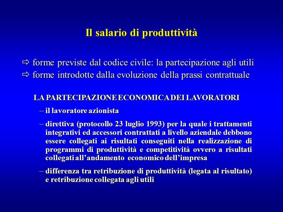 Il salario di produttività
