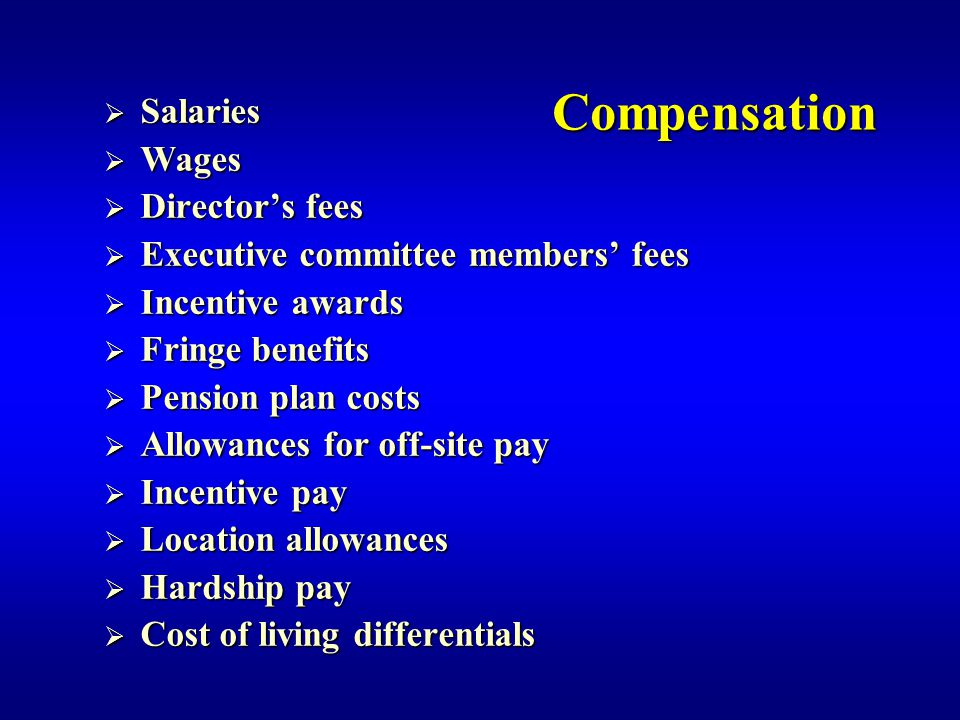 Compensation Salaries Wages Director's fees
