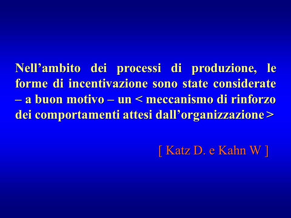 Nell'ambito dei processi di produzione, le forme di incentivazione sono state considerate – a buon motivo – un < meccanismo di rinforzo dei comportamenti attesi dall'organizzazione >