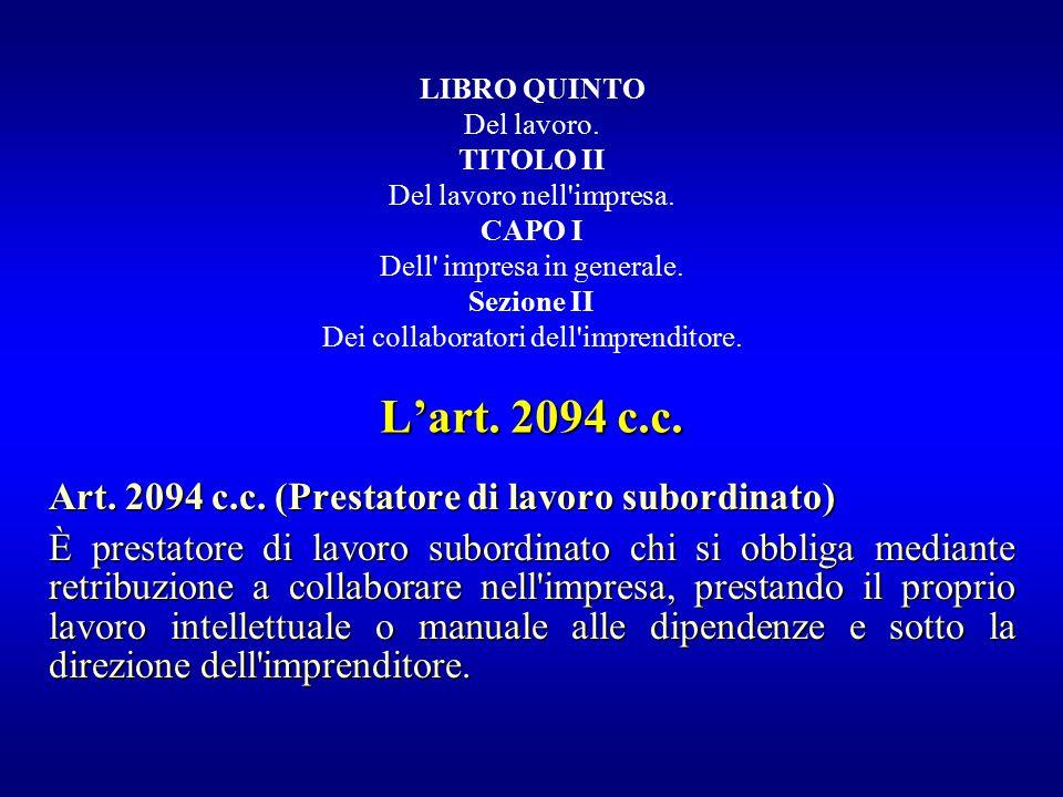 L'art. 2094 c.c. Art. 2094 c.c. (Prestatore di lavoro subordinato)