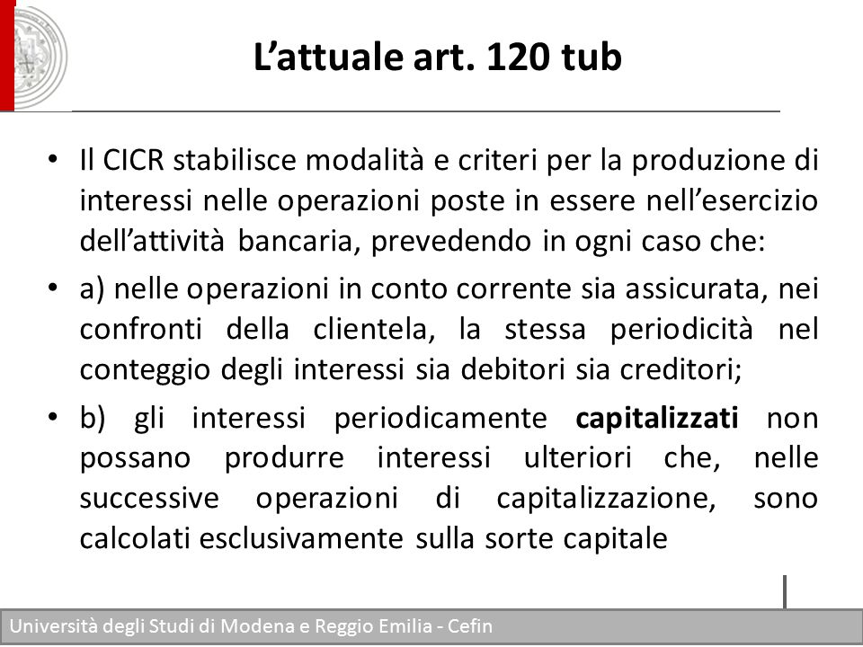 L'attuale art. 120 tub
