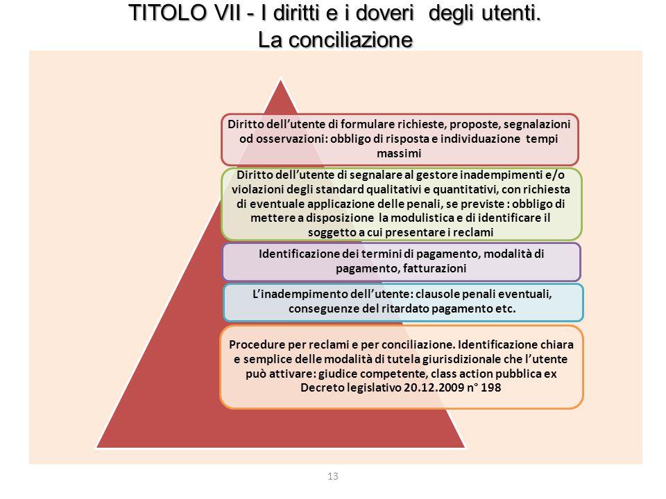 TITOLO VII - I diritti e i doveri degli utenti.