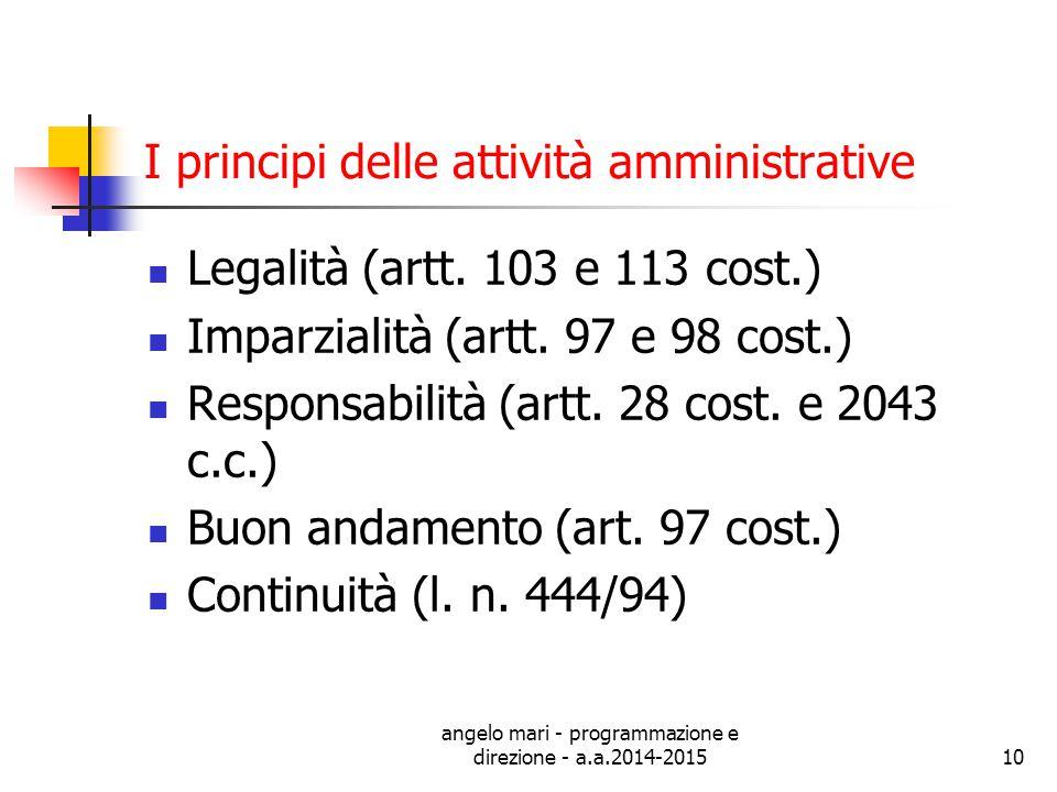 I principi delle attività amministrative