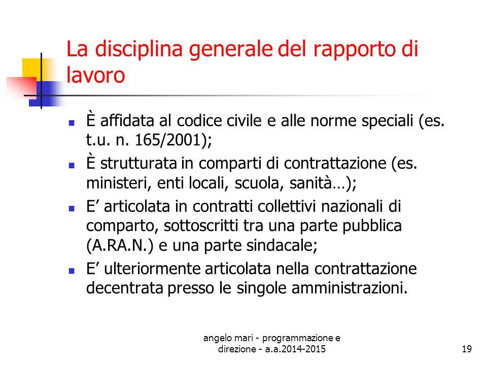 La disciplina generale del rapporto di lavoro
