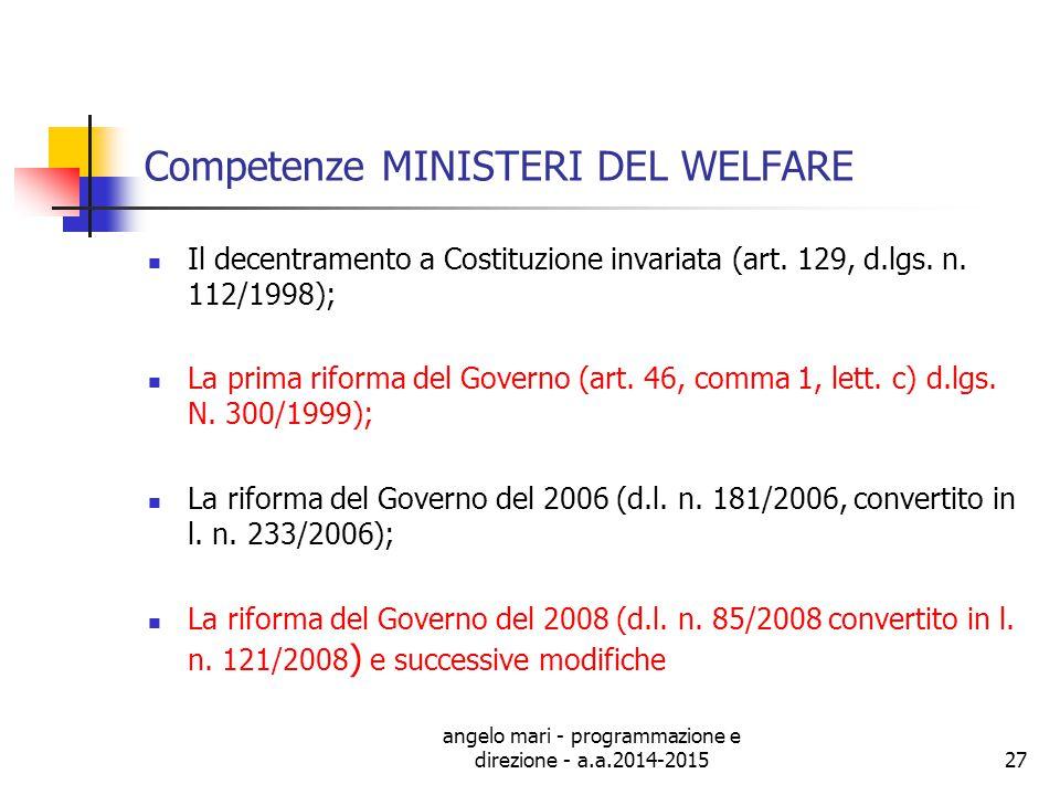 Competenze MINISTERI DEL WELFARE