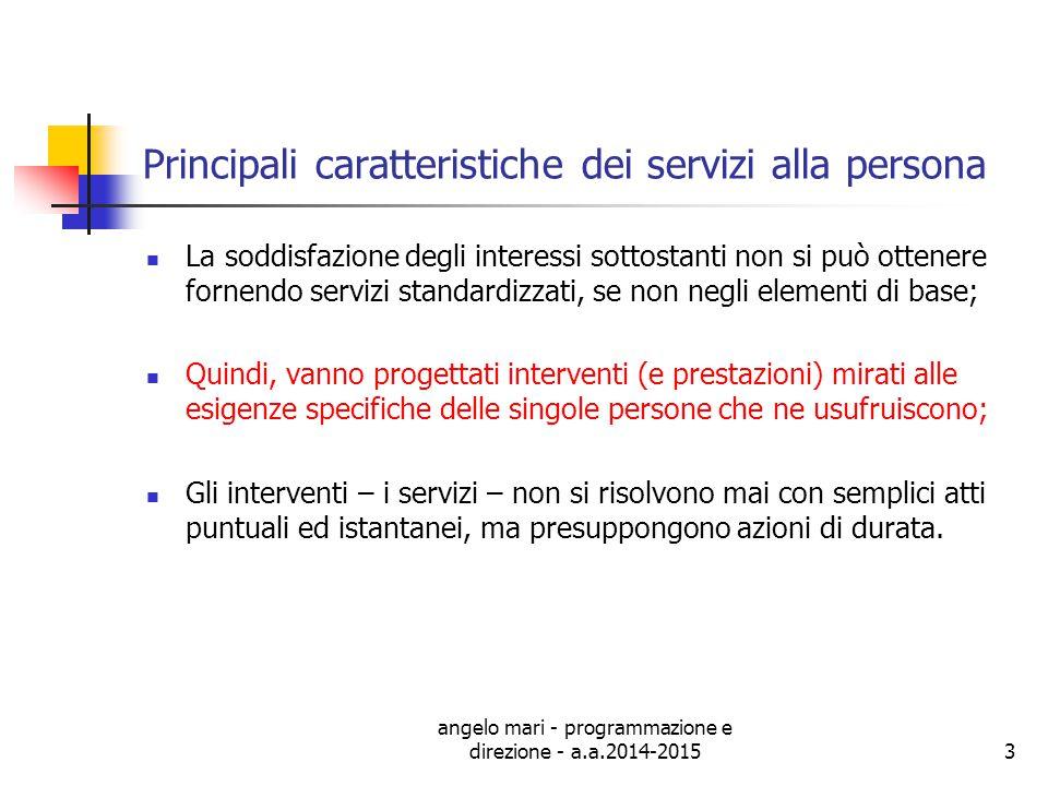 Principali caratteristiche dei servizi alla persona