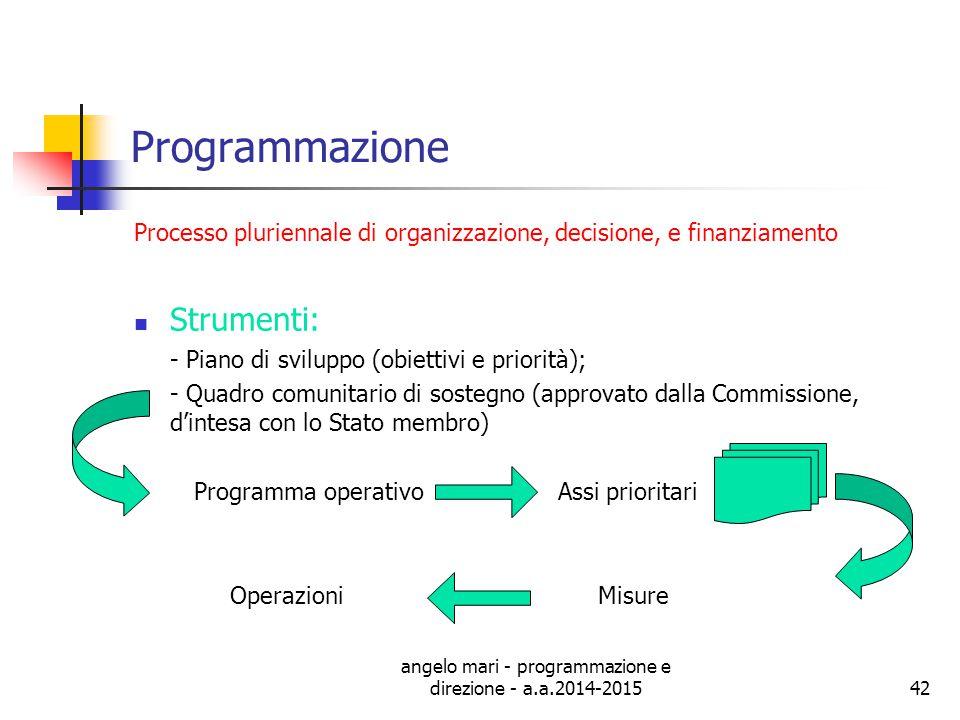 angelo mari - programmazione e direzione - a.a.2014-2015