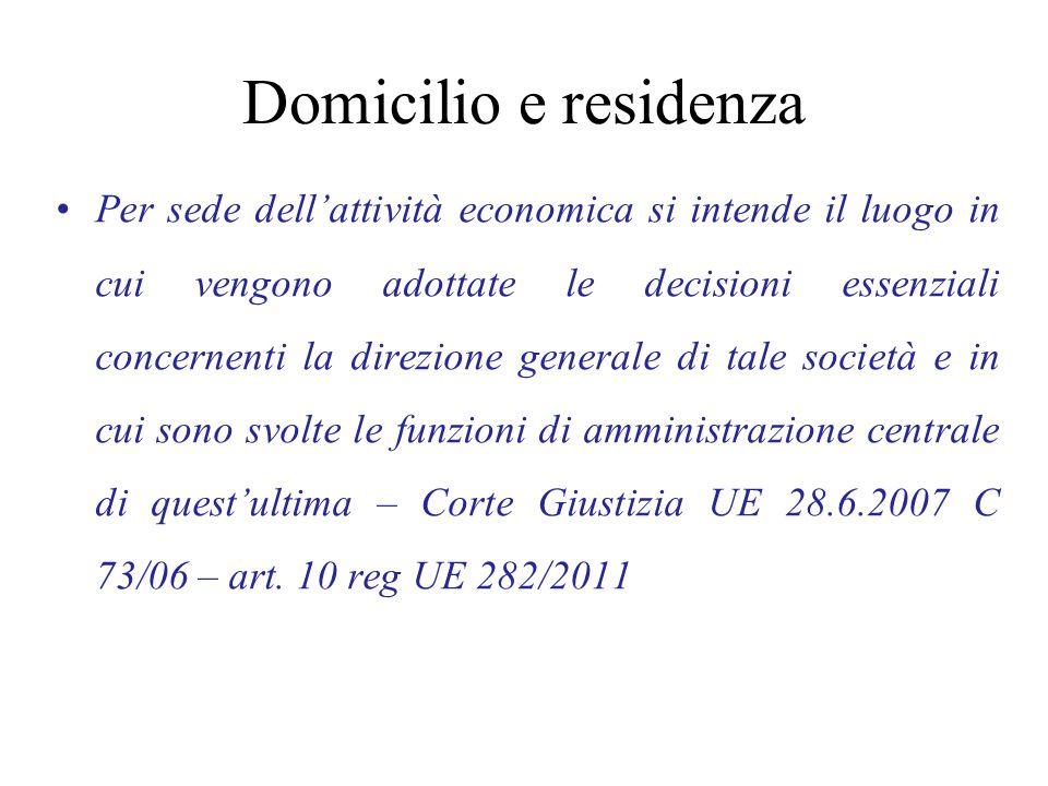 Domicilio e residenza