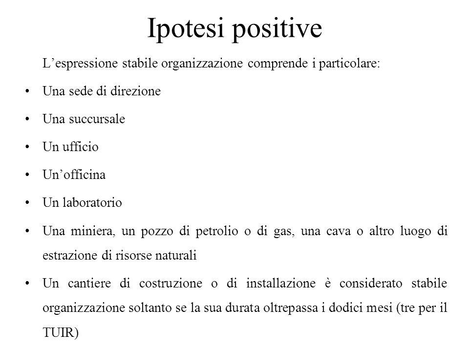 Ipotesi positive L'espressione stabile organizzazione comprende i particolare: Una sede di direzione.