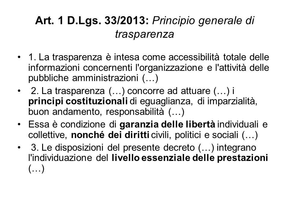 Art. 1 D.Lgs. 33/2013: Principio generale di trasparenza