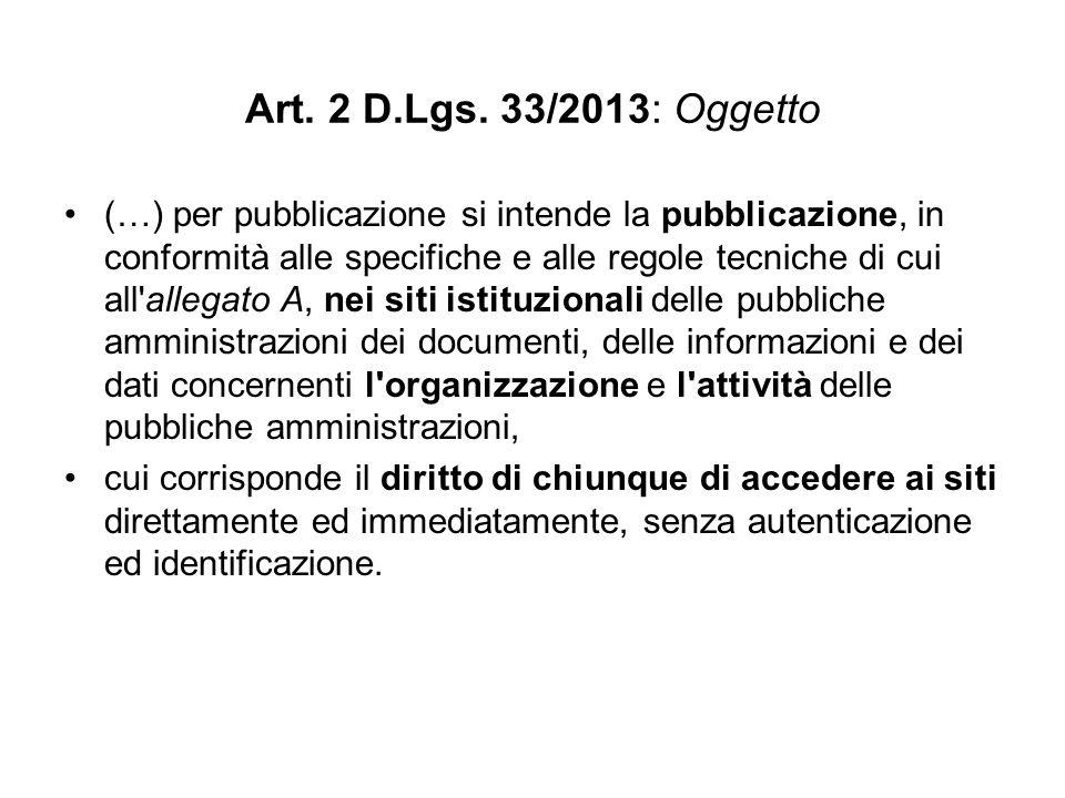 Art. 2 D.Lgs. 33/2013: Oggetto